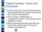 capital transfers issues and constraints