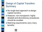 design of capital transfers summary
