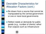 desirable characteristics for allocation factors cont