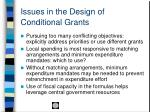 issues in the design of conditional grants