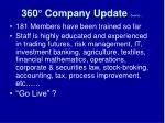 360 company update cont d