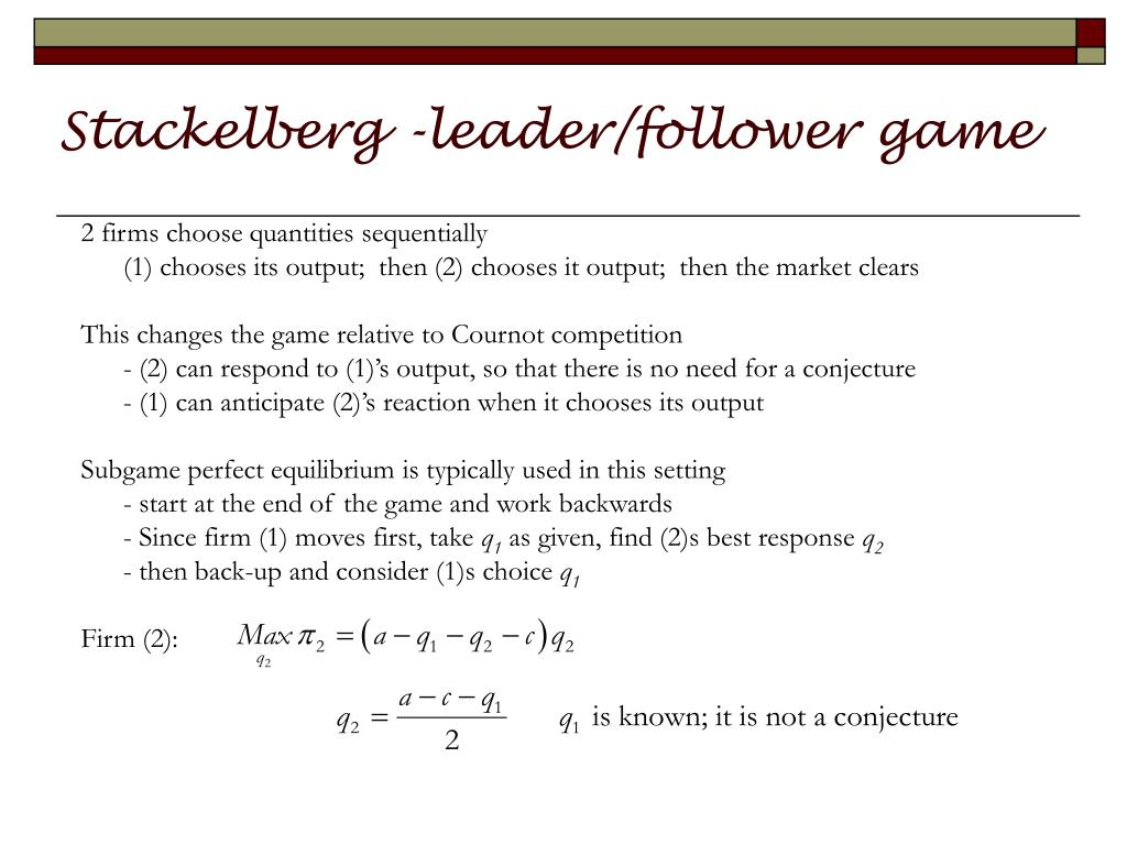 stackelberg leader follower game l.