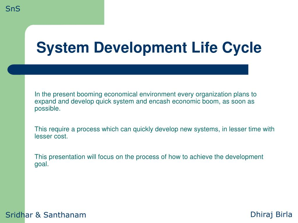 system development life cycle l.