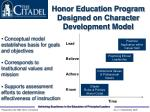 honor education program designed on character development model