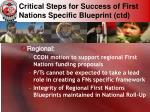 critical steps for success of first nations specific blueprint ctd