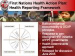 first nations health action plan health reporting framework