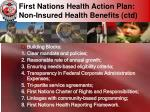 first nations health action plan non insured health benefits ctd
