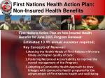 first nations health action plan non insured health benefits