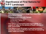 significance of first nations for f p t landscape