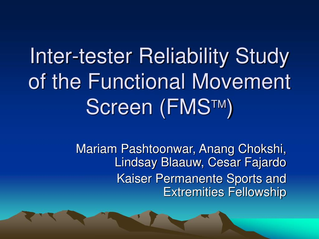 inter tester reliability study of the functional movement screen fms tm l.