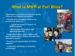 what is mwr at fort bliss