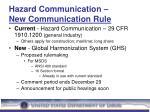 hazard communication new communication rule