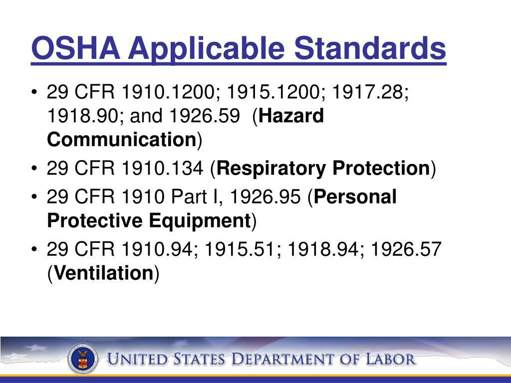 OSHA Applicable Standards