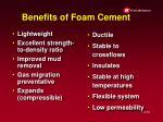 benefits of foam cement