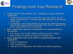 findings from iraq research