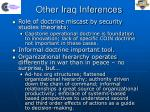other iraq inferences