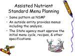 assisted nutrient standard menu planning