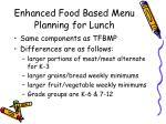 enhanced food based menu planning for lunch