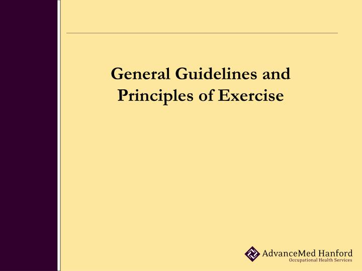 general guidelines and principles of exercise n.