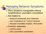 managing behavior symptoms