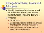 recognition phase goals and principles
