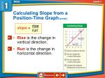 calculating slope from a position time graph cont