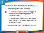 position and reference points cont