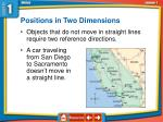 positions in two dimensions