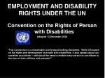 employment and disability rights under the un