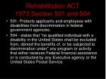 rehabilitation act 1973 section 501 and 504