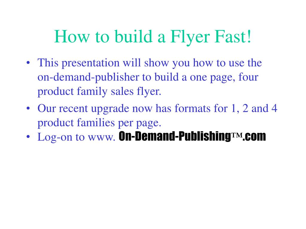 how to build a flyer fast l.