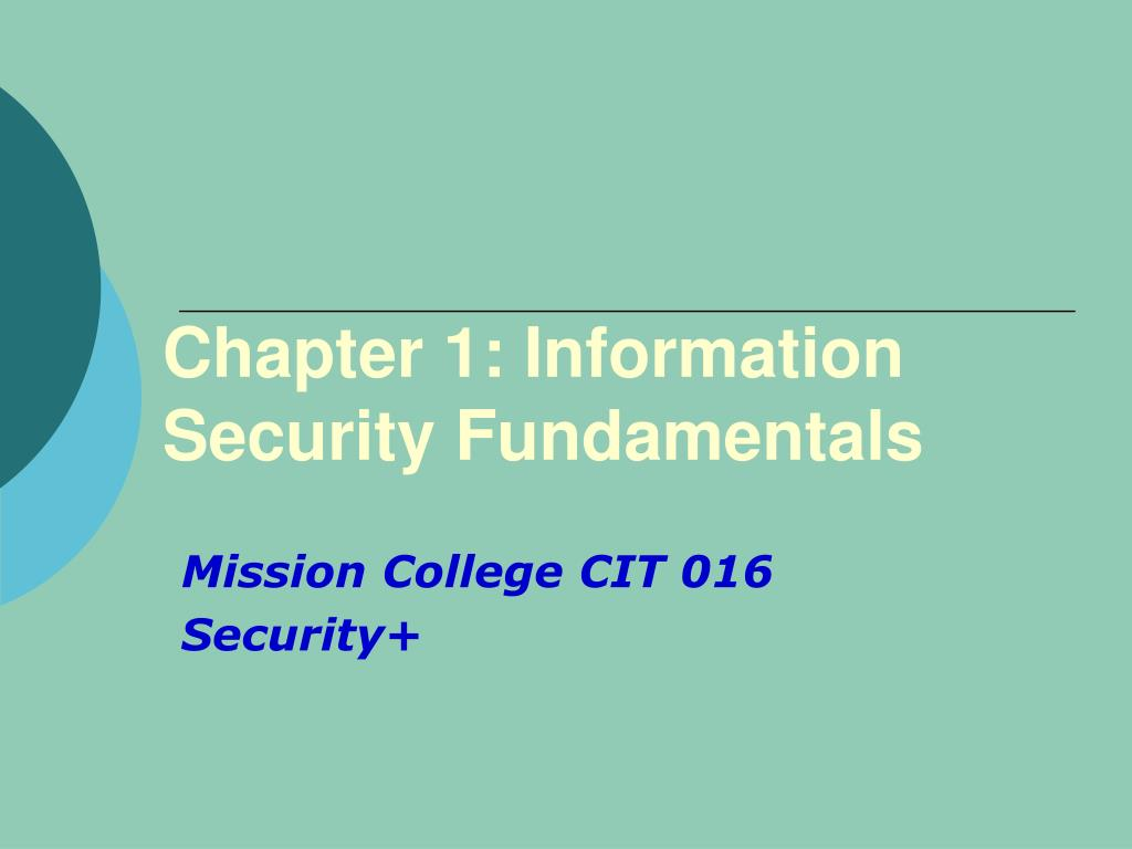 chapter 1 information security fundamentals l.