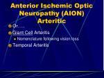 anterior ischemic optic neuropathy aion arteritic