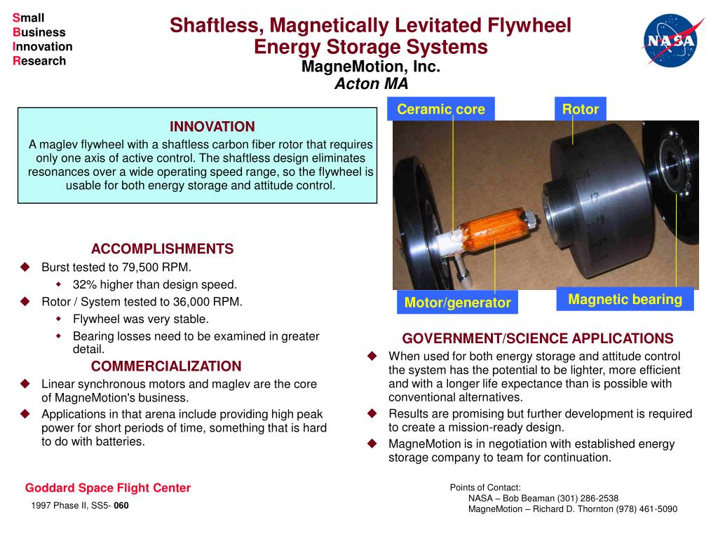 shaftless magnetically levitated flywheel energy storage systems magnemotion inc acton ma l.