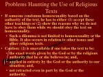 problems haunting the use of religious texts14
