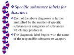 specific substance labels for disorders