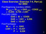 class exercise exercise 7 4 part a for 2002