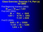 class exercise exercise 7 4 part a for 2003