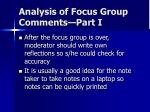 analysis of focus group comments part i