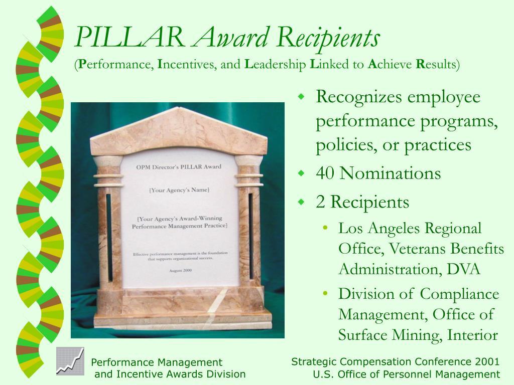 PILLAR Award Recipients