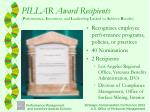 pillar award recipients p erformance i ncentives and l eadership l inked to a chieve r esults