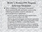 bgsu s written ppe program selection guidelines
