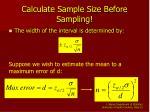 calculate sample size before sampling