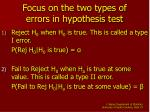 focus on the two types of errors in hypothesis test