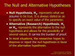 the null and alternative hypotheses