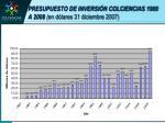 presupuesto de inversi n colciencias 1980 a 2008 en d lares 31 diciembre 2007