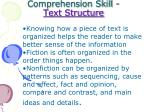comprehension skill text structure