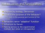 william james and functionalism