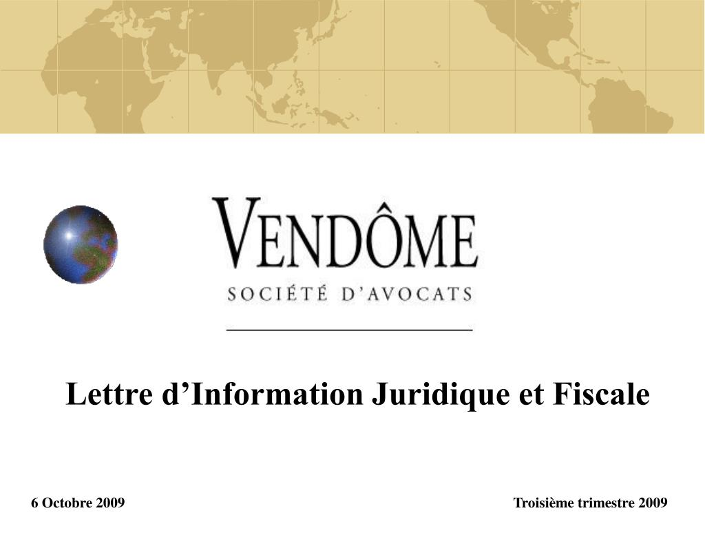 lettre d information juridique et fiscale 6 octobre 2009 troisi me trimestre 2009 l.