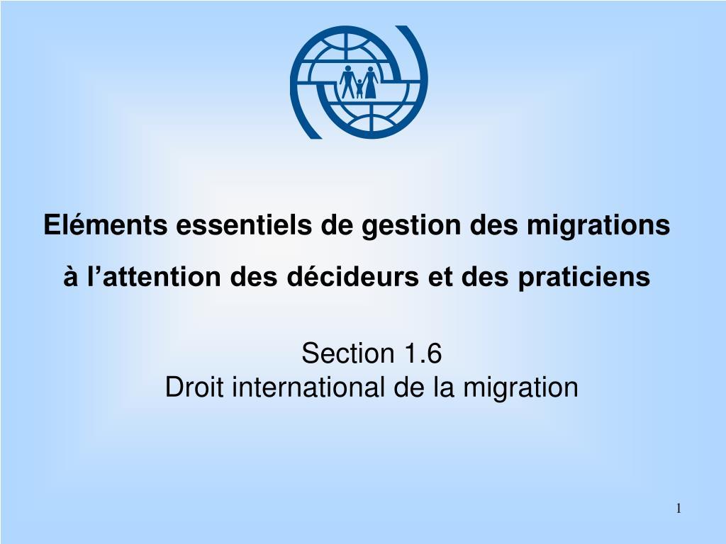 el ments essentiels de gestion des migrations l attention des d cideurs et des praticiens l.